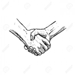 Hand Drawn Handshake. Isolated Sketch. Vector Illustration.